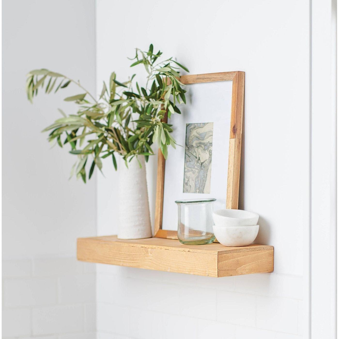 Thefloating wood pine wall shelf