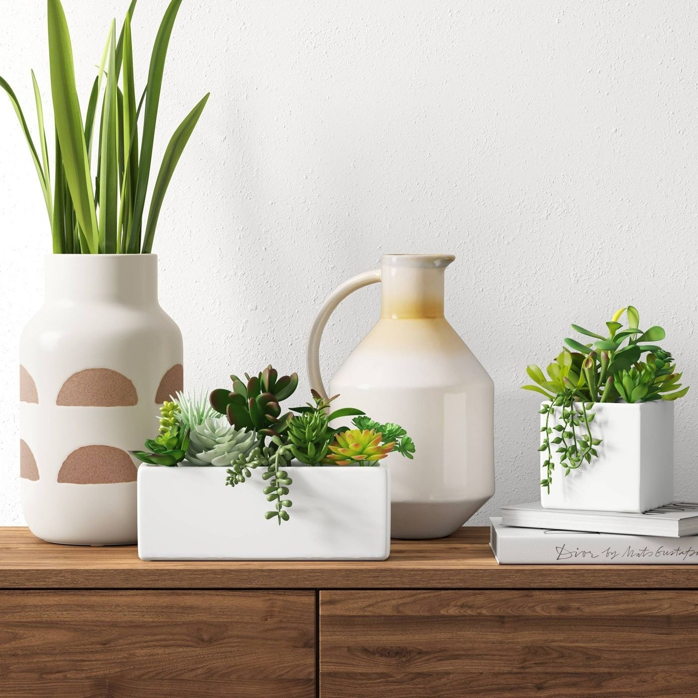 Theartificial succulent plant in a pot