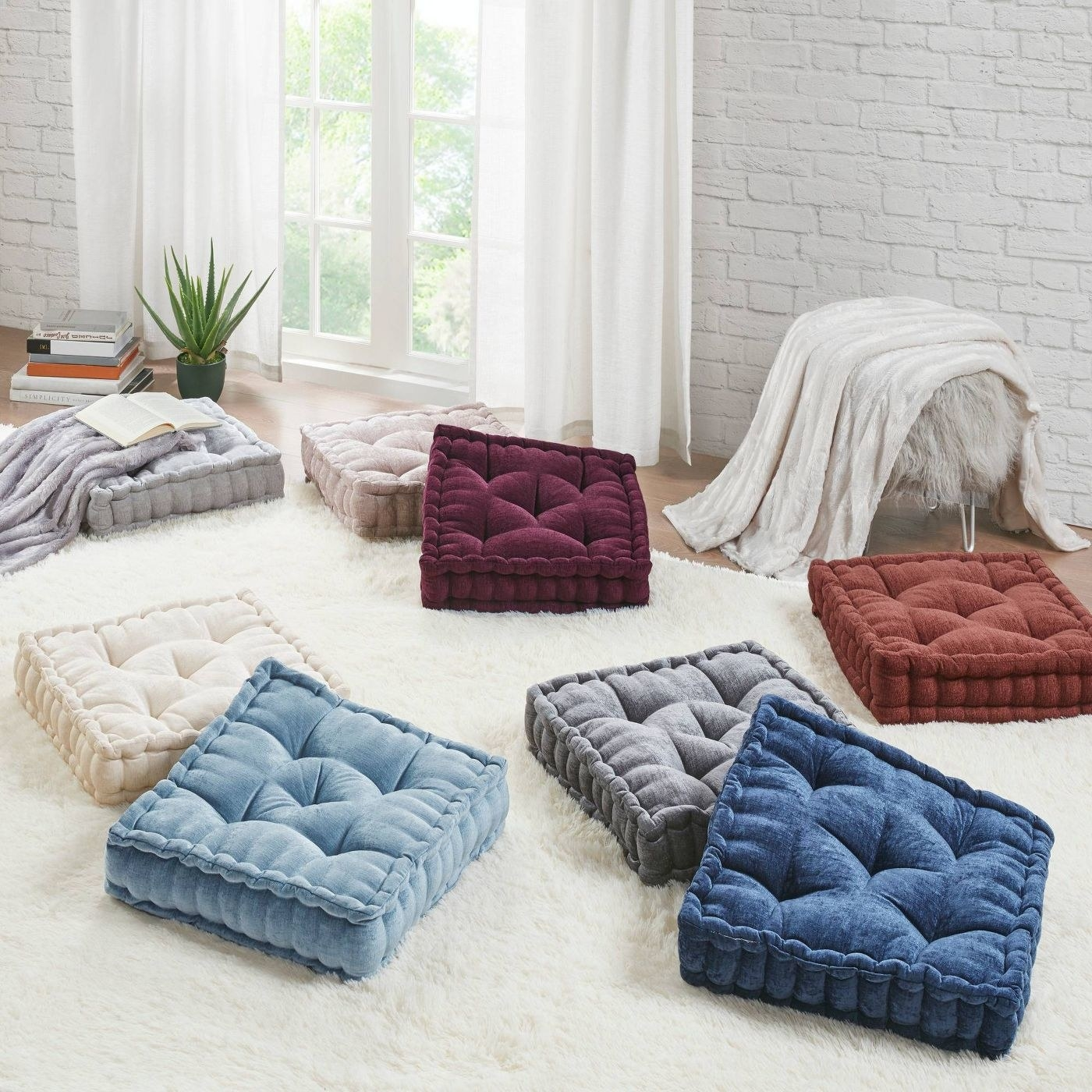 The chenille square floor pillow cushion