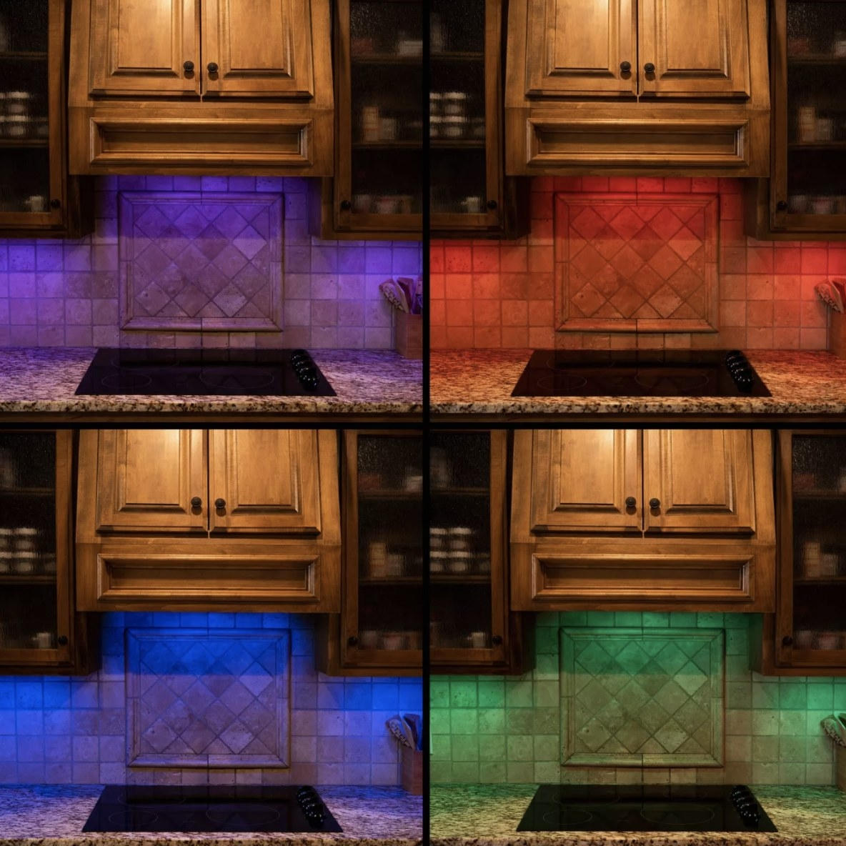 There are four separate cabinets with purple, red, blue and green light examples