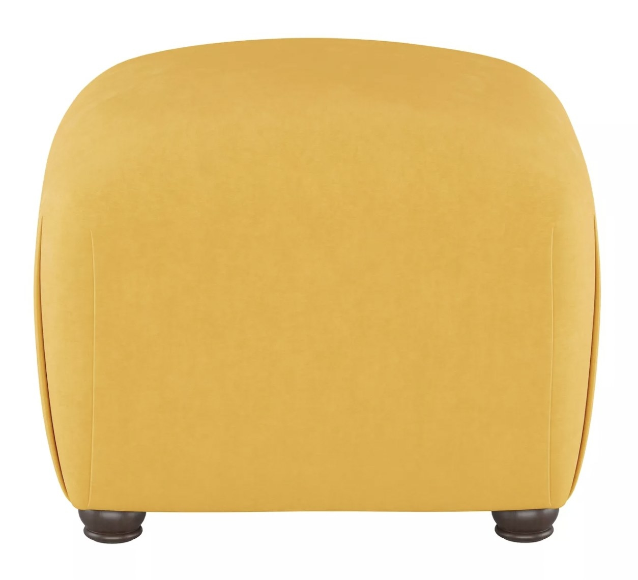 a yellow curved ottoman