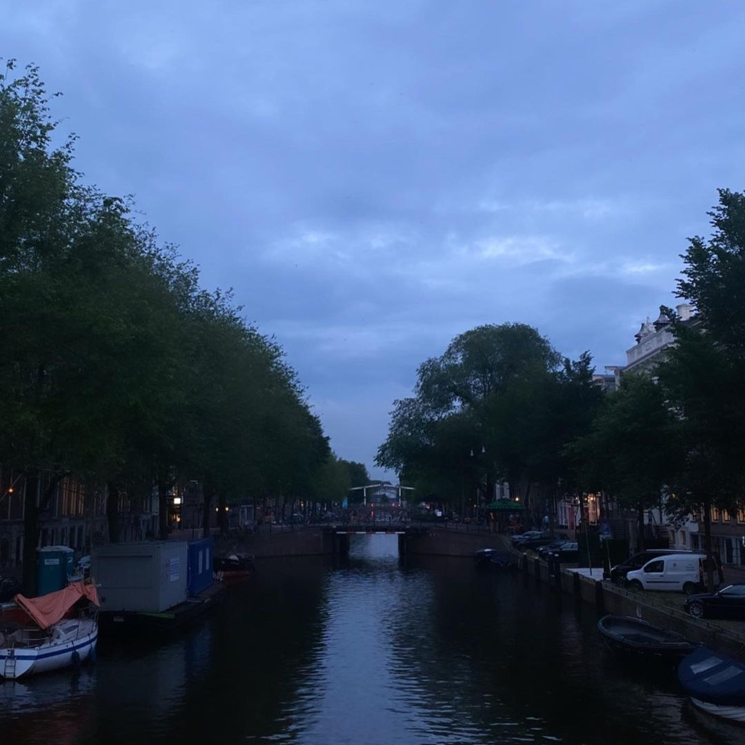 Ariana Grande posts a photo of the Amsterdam canals at dusk