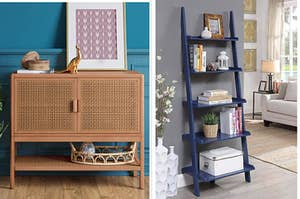a cabinet with mesh doors; a blue ladder book case