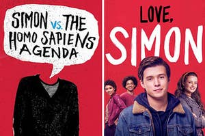 Simon from the movie next to the cover of the Love Simon book