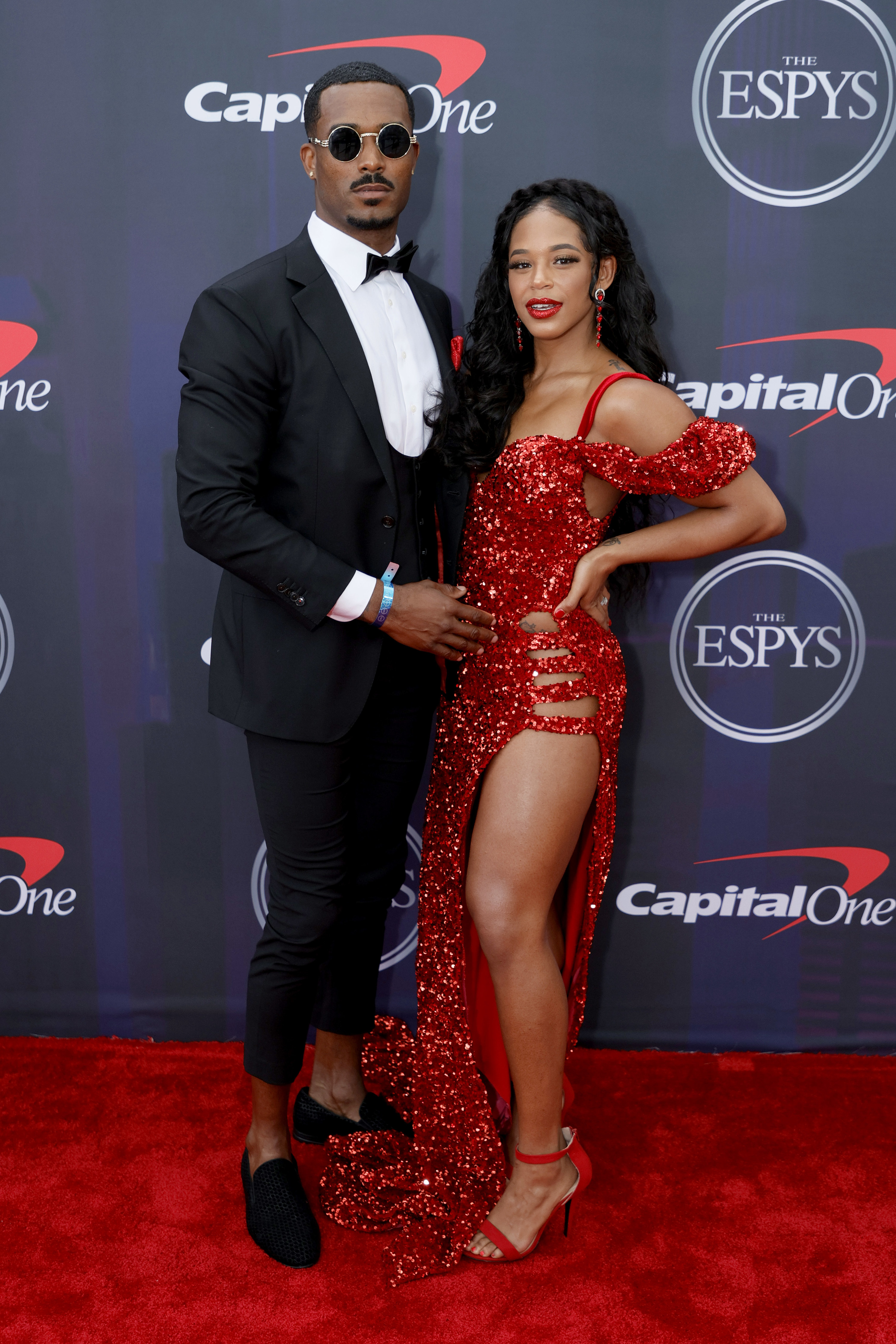 Montez wore a suit with high-water pants and Bianca wore a sequined gown