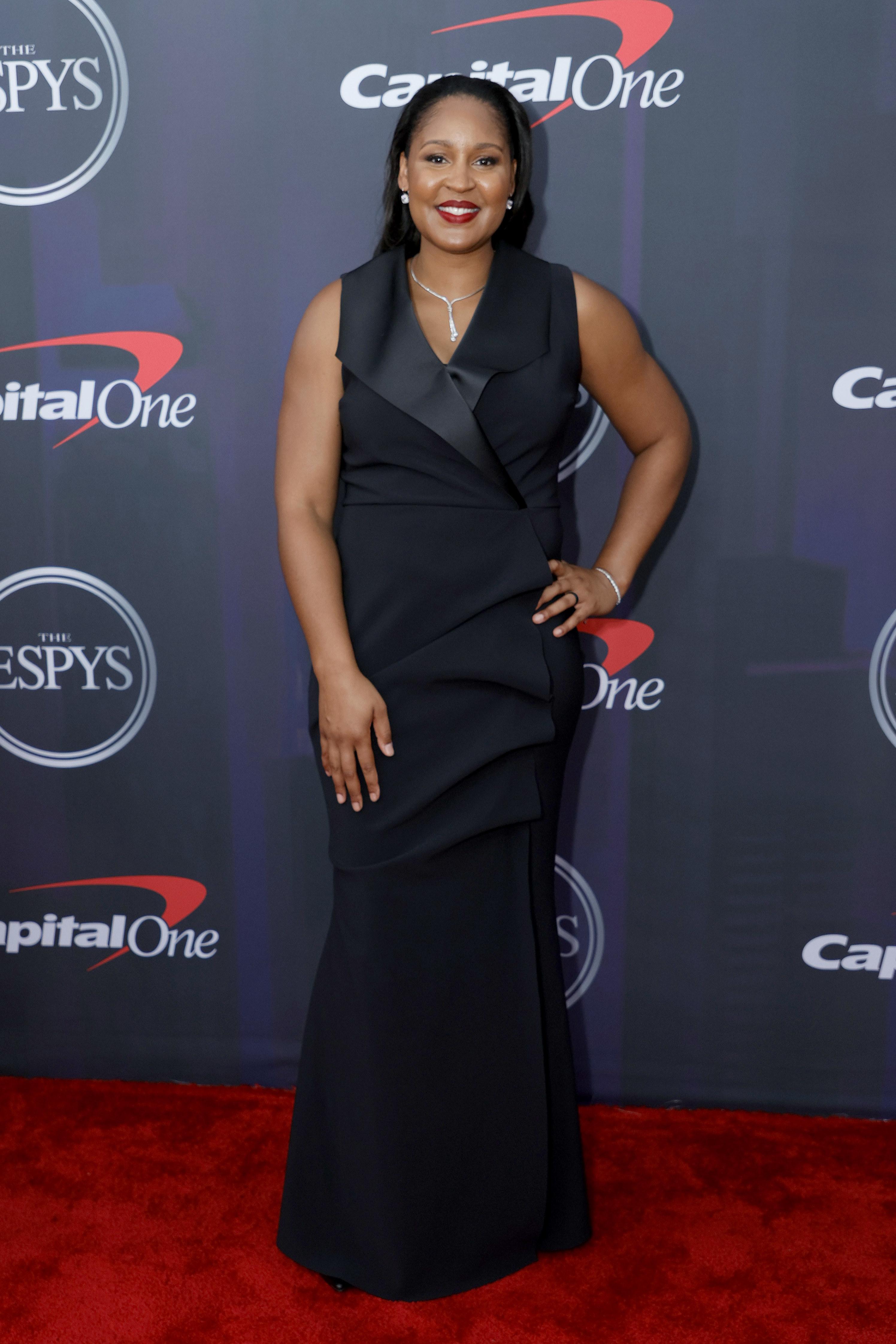 Maya wore a tuxedo gown