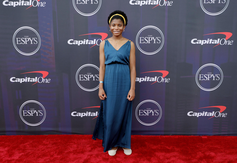 Zaila wore a floor-length gown