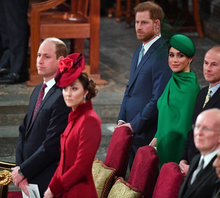 Prince William and Kate standing in front of Prince Harry and Meghan, Duchess of Sussex