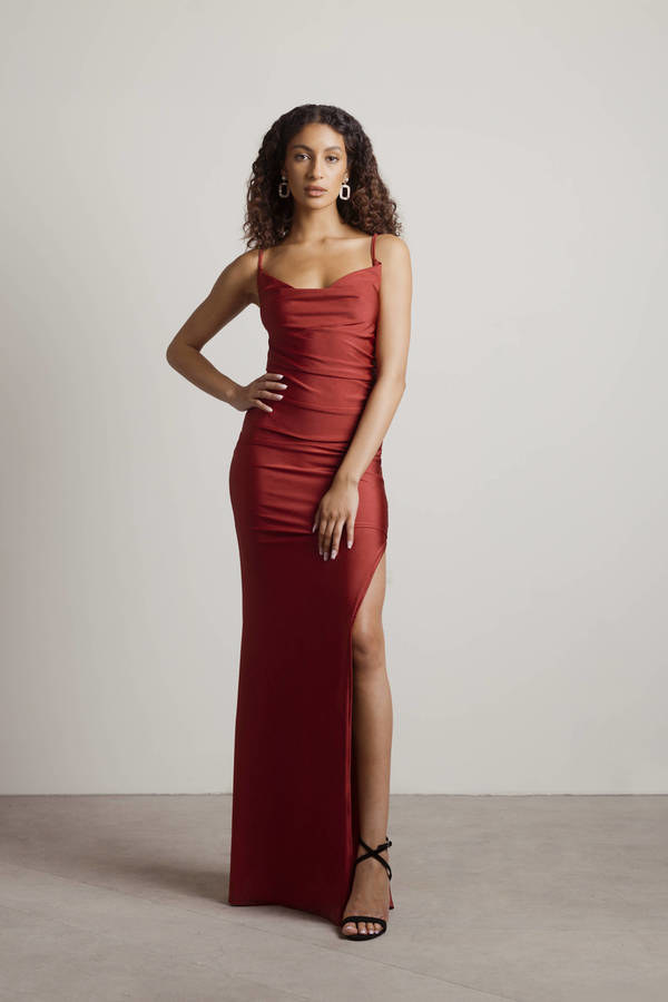 model wearing the red maxi dress