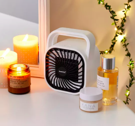 A portable space heater on a vanity