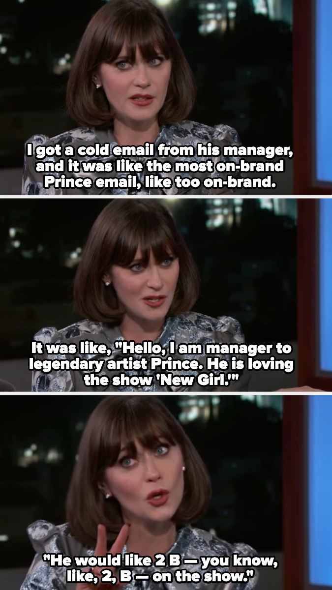 Zooey Deschanel describes the cold email that got Prince on her show