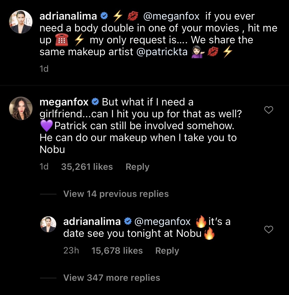 A screenshot that shows Megan Fox and Adriana Lima's recent Instagram exchange