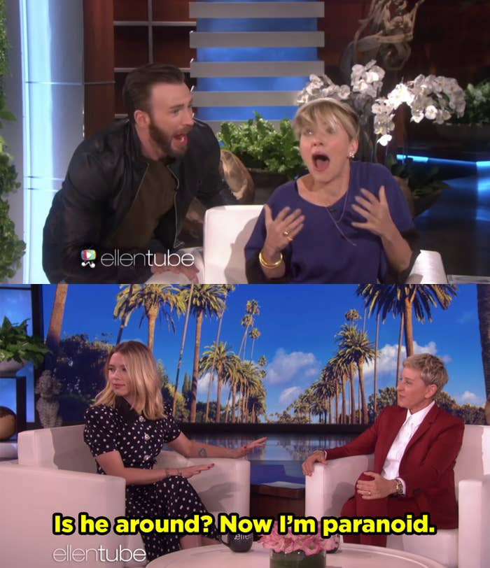 Chris Evans scaring Scarlett during an interview and then years later revealing that she's paranoid it'll happen again.