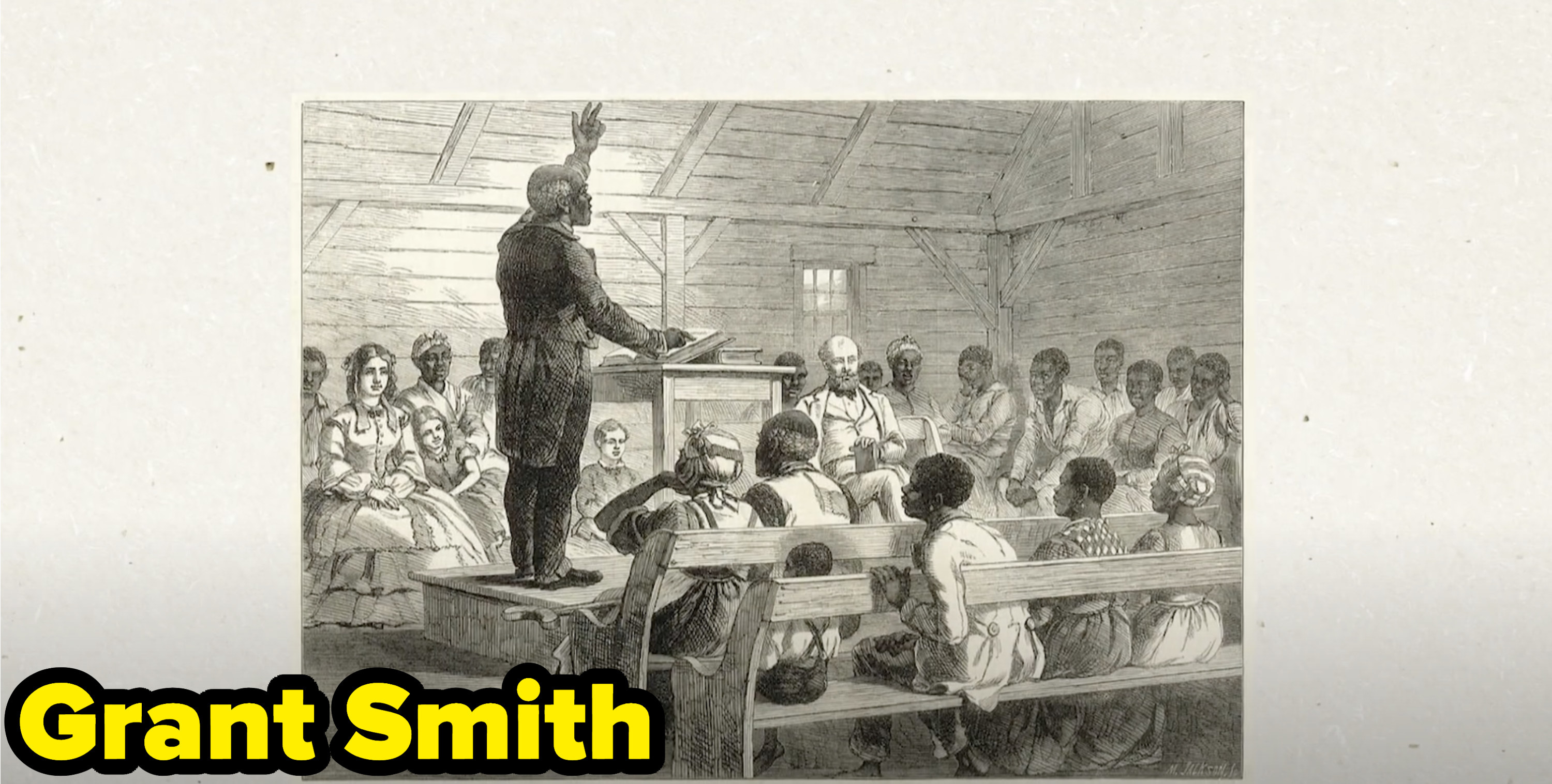 An illustration of of Grant Smith preaching