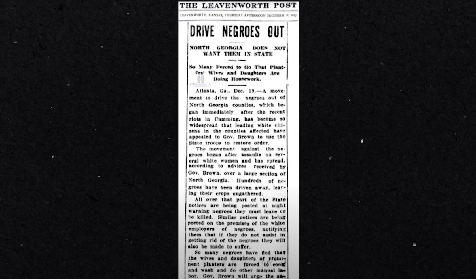 """A report in The Leavenworth Post with the headline """"Drive Negroes Out, North Georgia Does Not Want Them In State"""""""