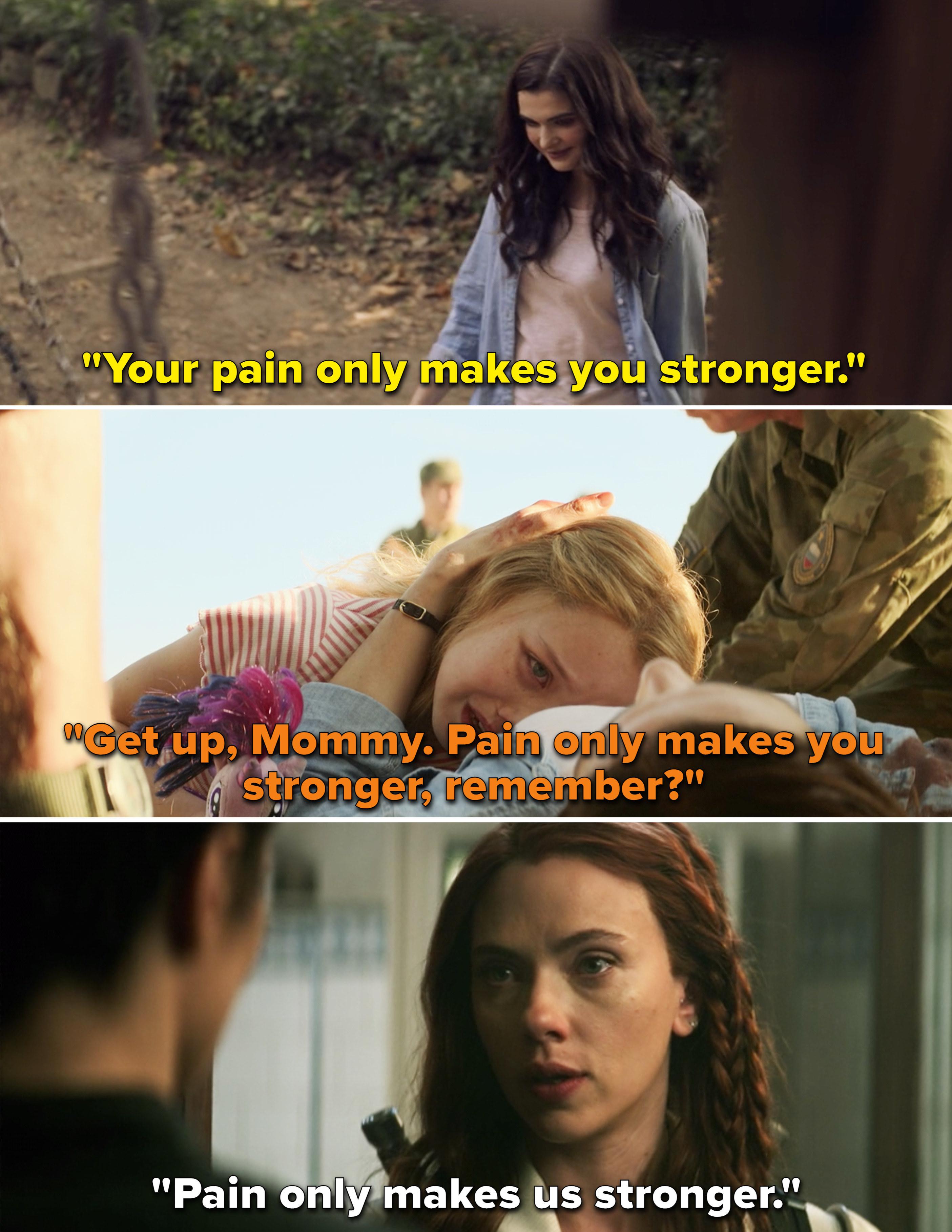 "Melina, young Yelena, and Natasha all saying a version of, ""Pain only makes us stronger"""