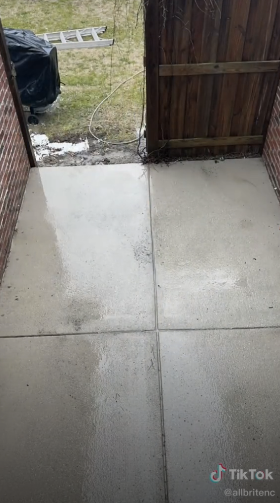 The same patio fully cleaned