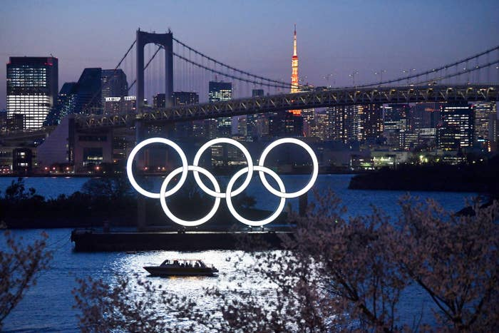 Olympic rings illuminated on the water
