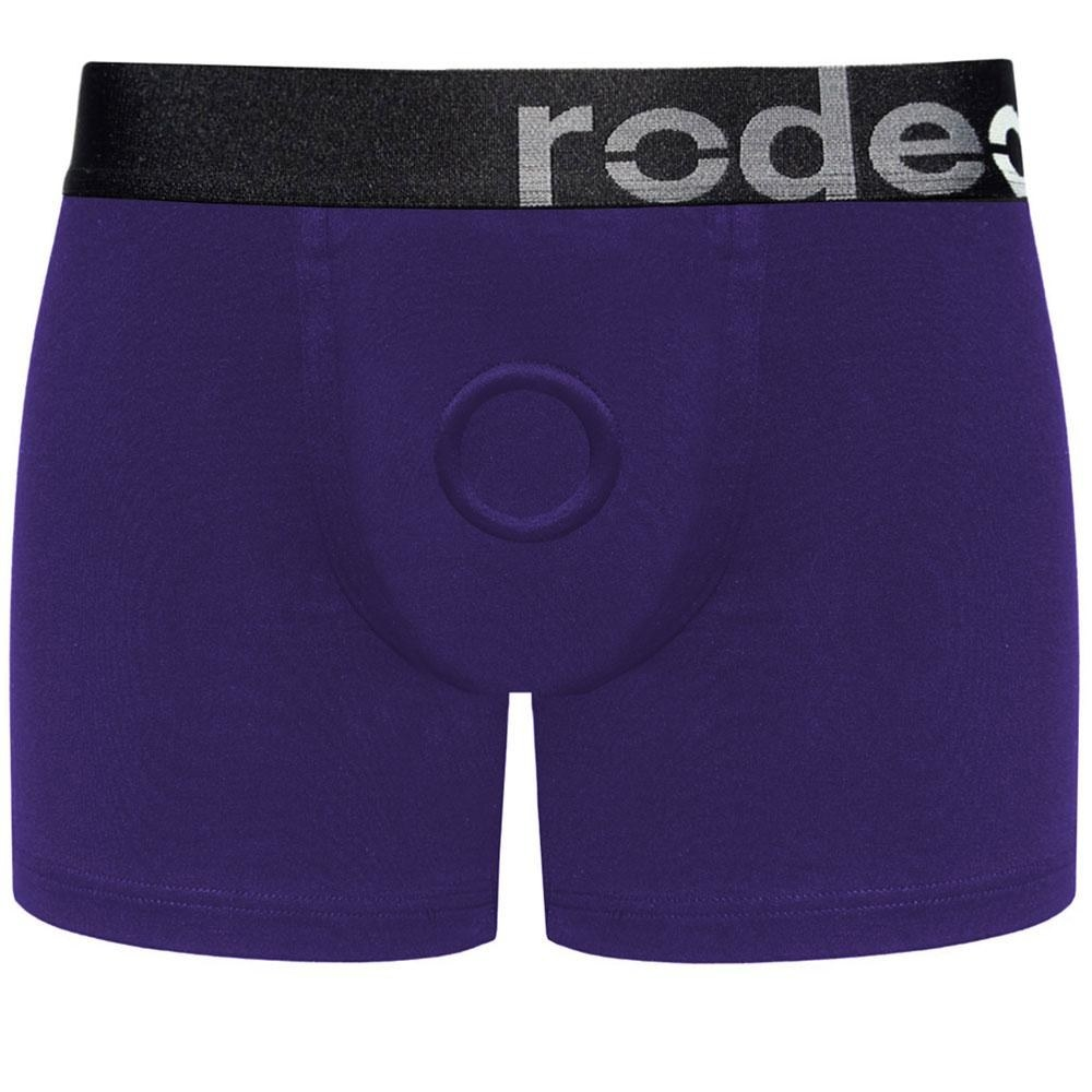 Purple boxer briefs with an O-ring harness