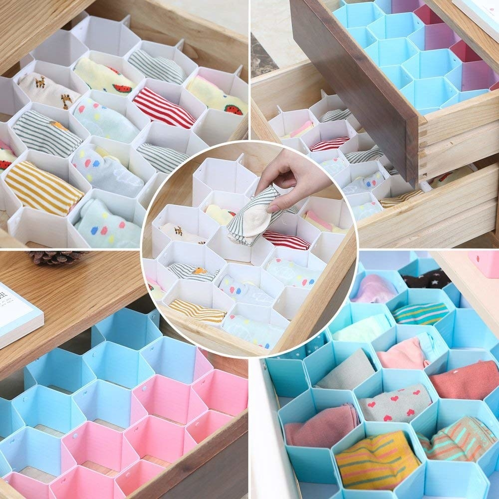Honeycomb drawer organiser with socks and other intimates