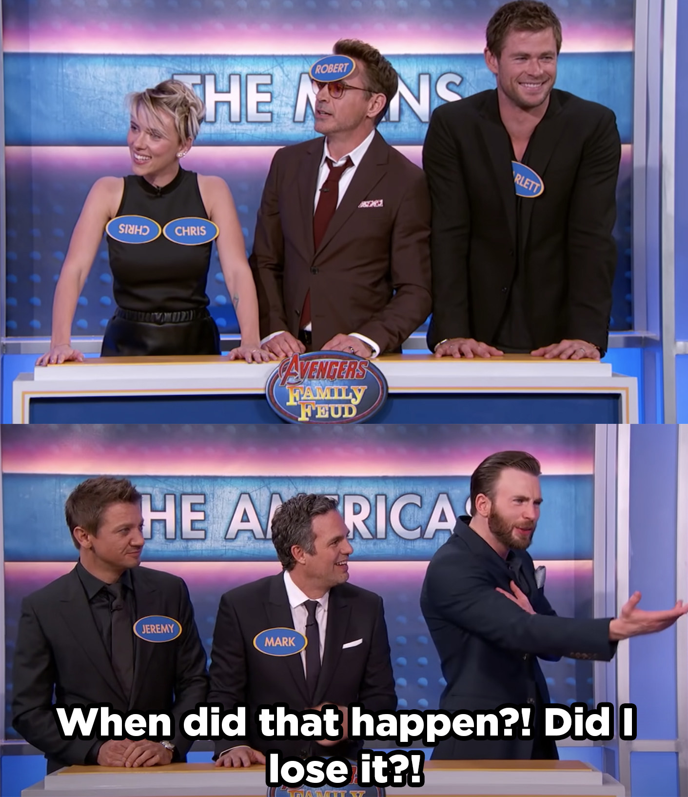 Scarlett wearing two name tags that say Chris, while Chris Evans realizes his name tag is missing.