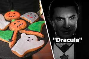 Cookies are in the shapes of pumpkin, ghosts, and witches' hat. And a close up of Dracula hiding in the shadows.