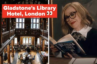 gladstone's library hotel lobby filled with books next to image of moira from schitts creek reading