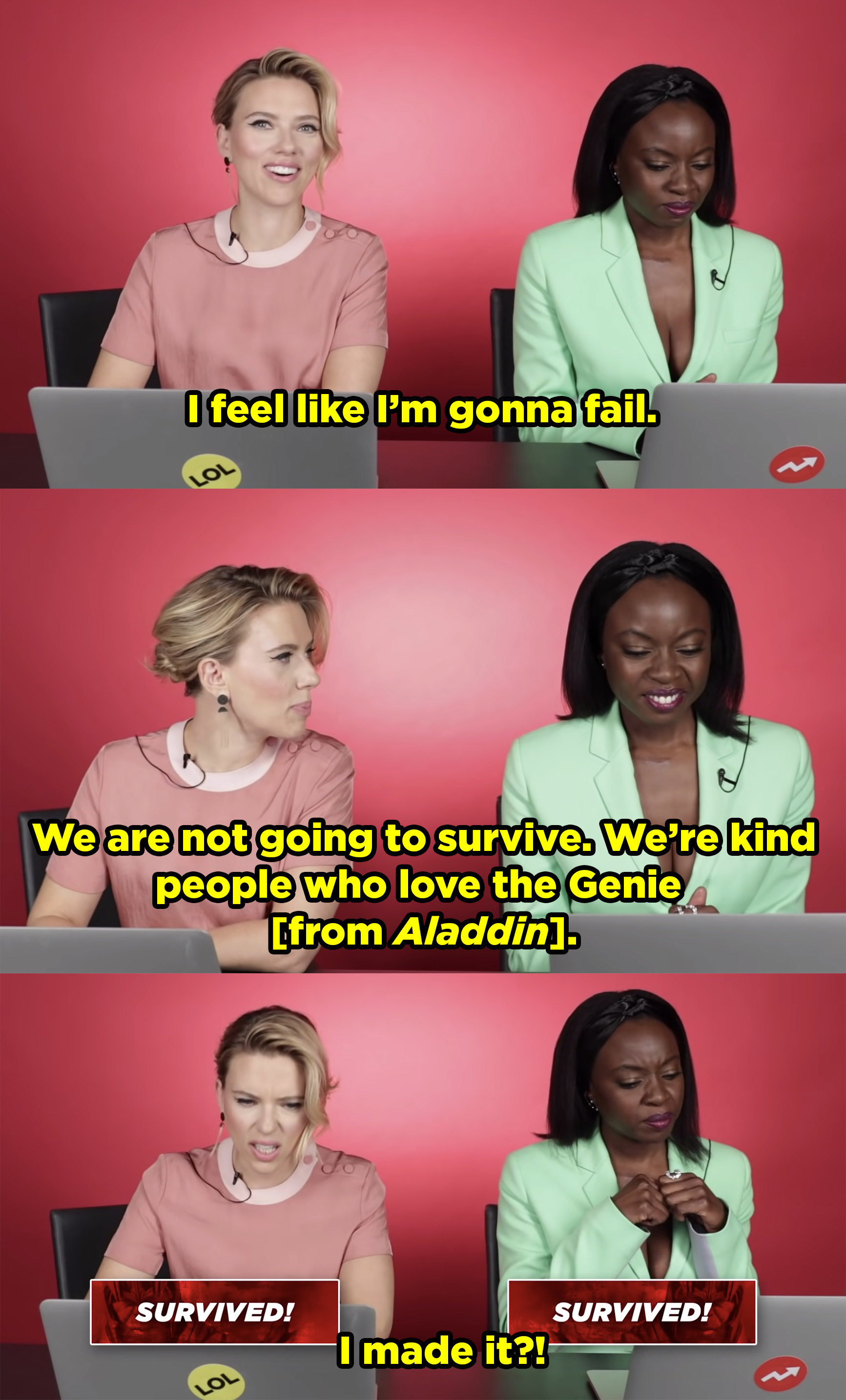 Scarlett Johansson and Danai Gurira take a BuzzFeed quiz to find out if they'd survive Thano's snap. Scarlett is very adamant about not surviving, but then she does!