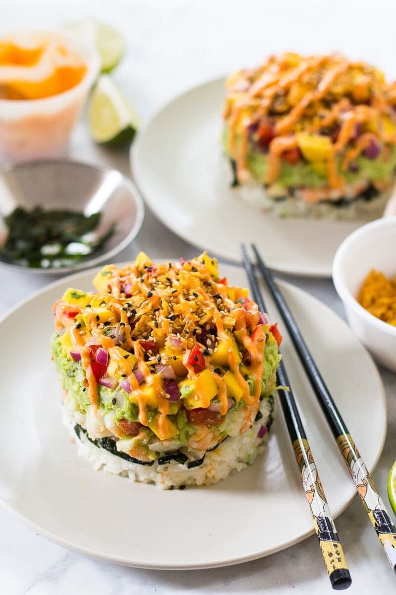 Rice topped with shrimp, avocado, onion, and spicy mayo.