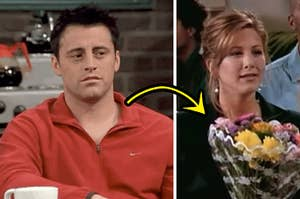 joey on the left and rachel holding flowers on the right