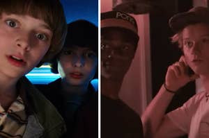 """The """"Stranger Things"""" crew is on the left playing a game with """"Outer Banks"""" characters on the right"""