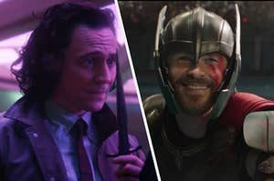 Loki holds a long dagger close to his face and a close up of Thor wearing a helmet with red war paint on his face.
