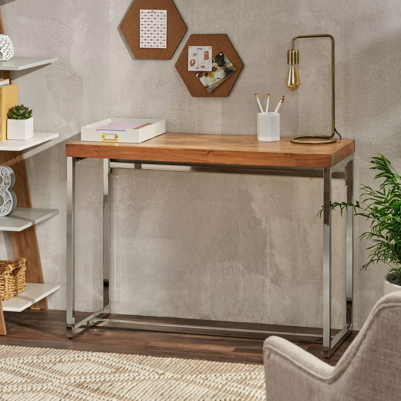 The wood and chrome desk