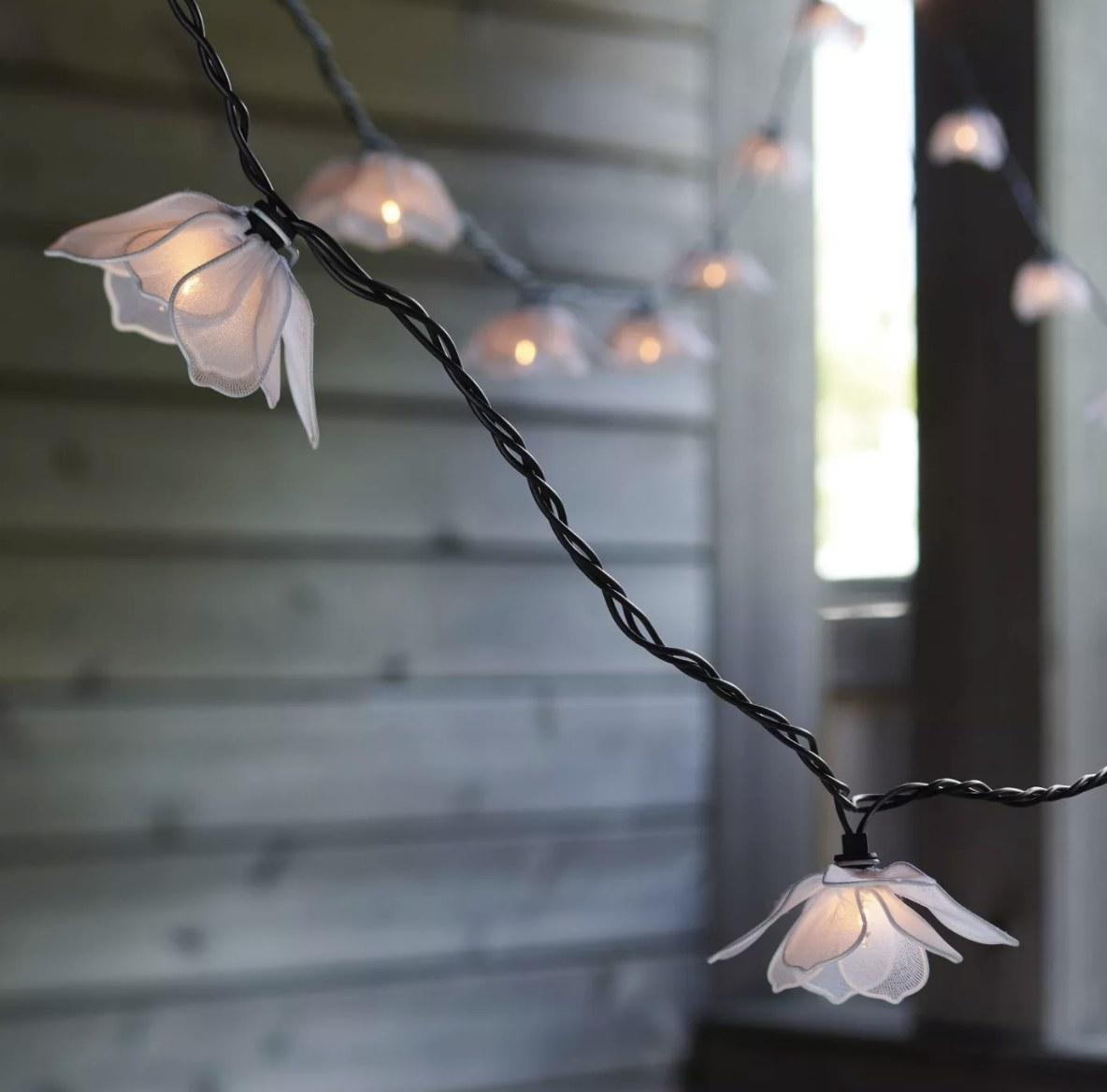 The white flowers are on a black cord and give of warm lighting