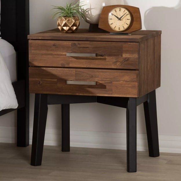 The brown and black nightstand
