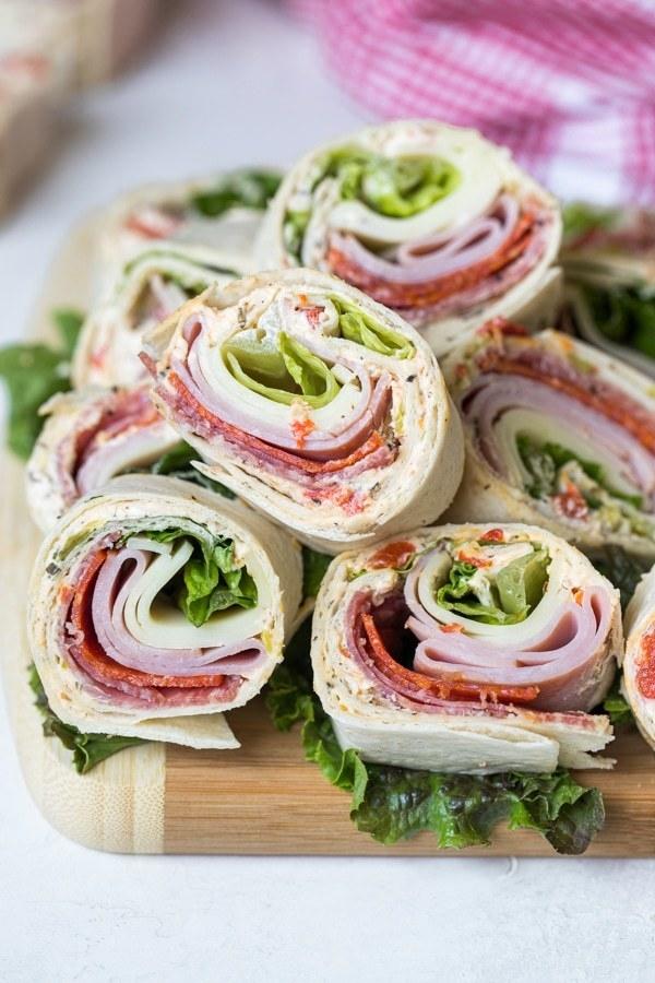 A stack of Italian pinwheel sandwiches.