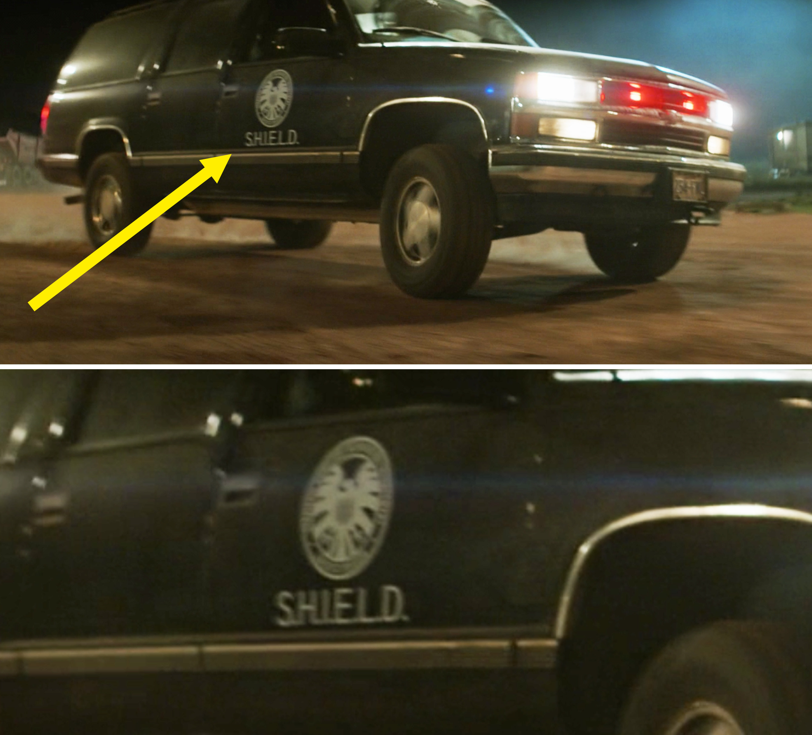 A close-up of a SHIELD logo on a car