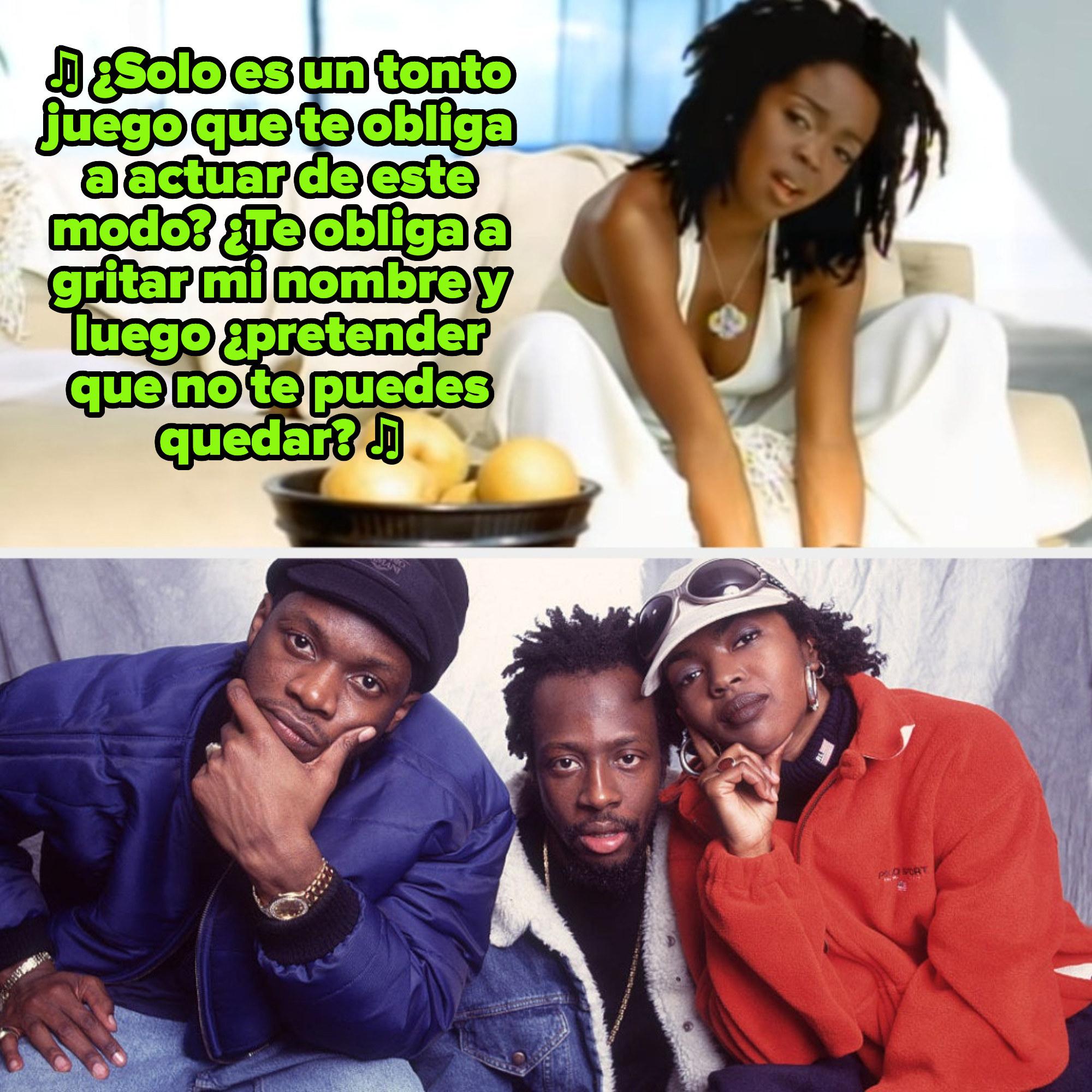 """Lauryn Hill en su video de """"Ex-Factor""""; Hill posando con Pras y Wyclef Jean de Fugees en los tardíos '90s"""