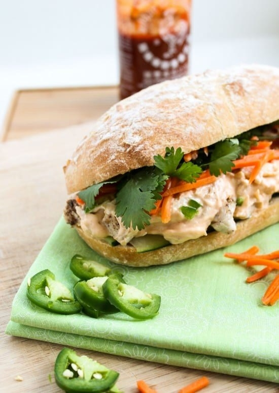 A banh mi made with leftover turkey, vegetables, and spicy Sriracha sauce.