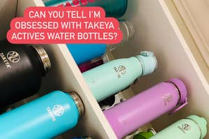 """Cabinet full of Takeya water bottles captioned """"can you tell I'm obsessed with takeya actives water bottles"""""""