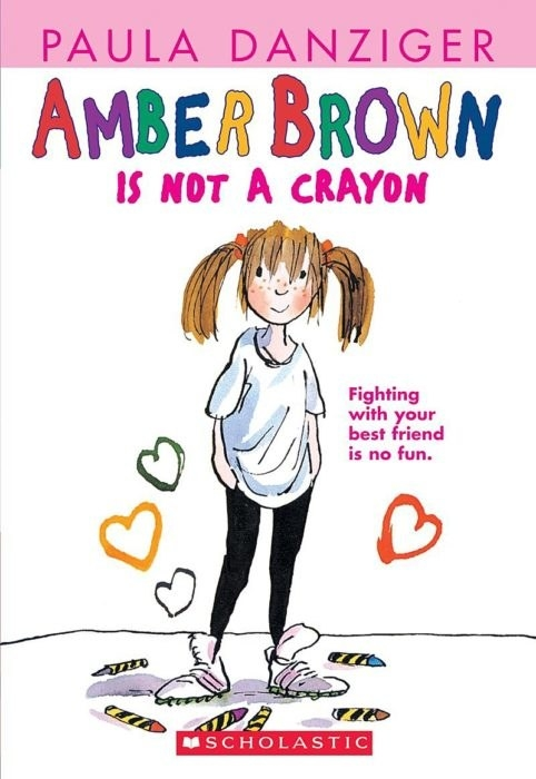 Book cover for Amber Brown Is Not A Crayon, featuring the titular character, a young girl with pigtails in big white sneakers, a white T-shirt and black leggings