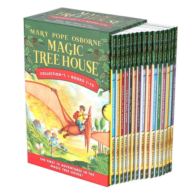 A box set of the Magic Tree House books by Mary Pope Osborne. The front cover shows a young boy with glasses on a pterodactyl and a young girl following him from the ground