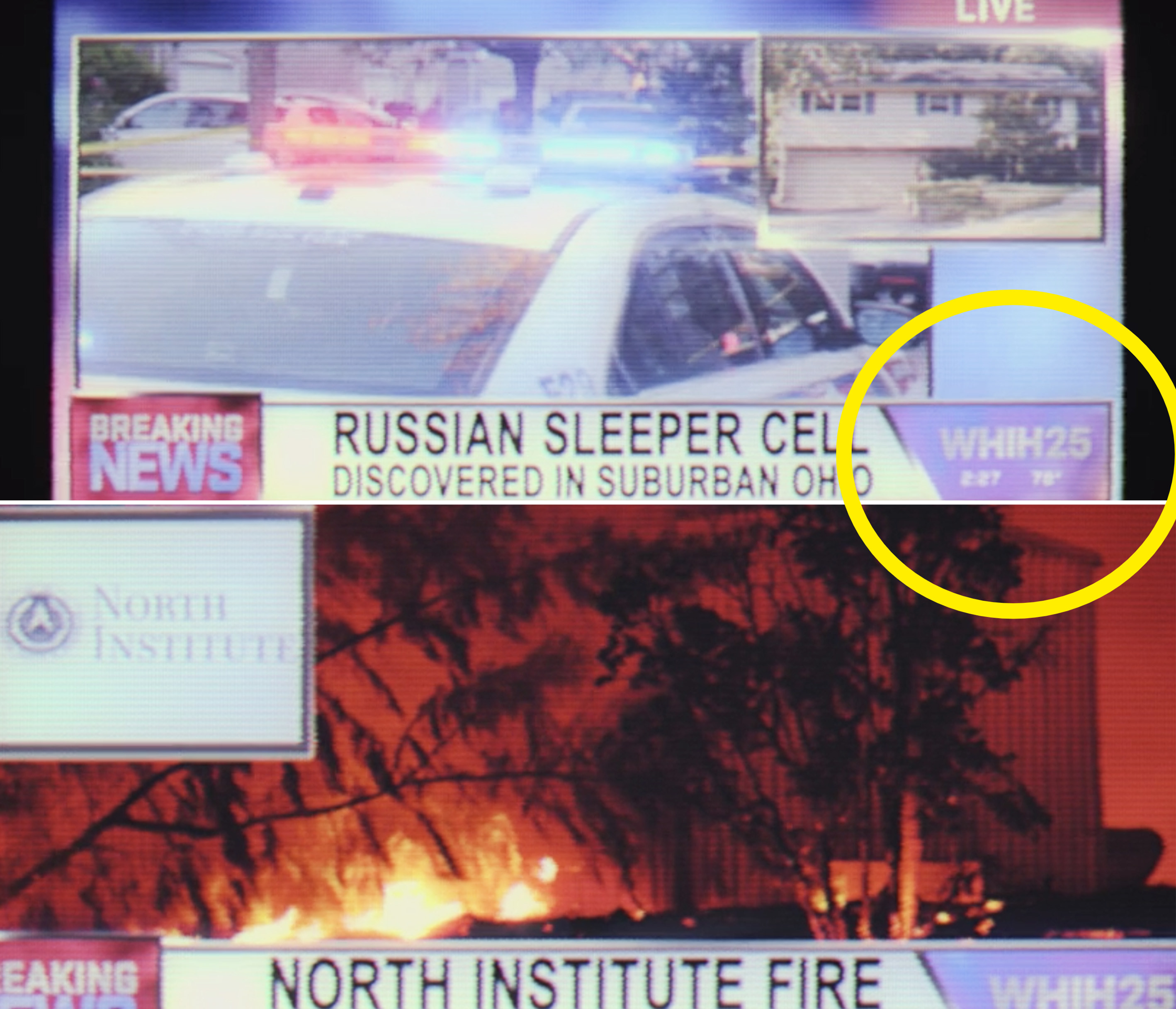 """News footage talking about a """"Russian sleeper cell"""" in Ohio and the North Institute fire"""