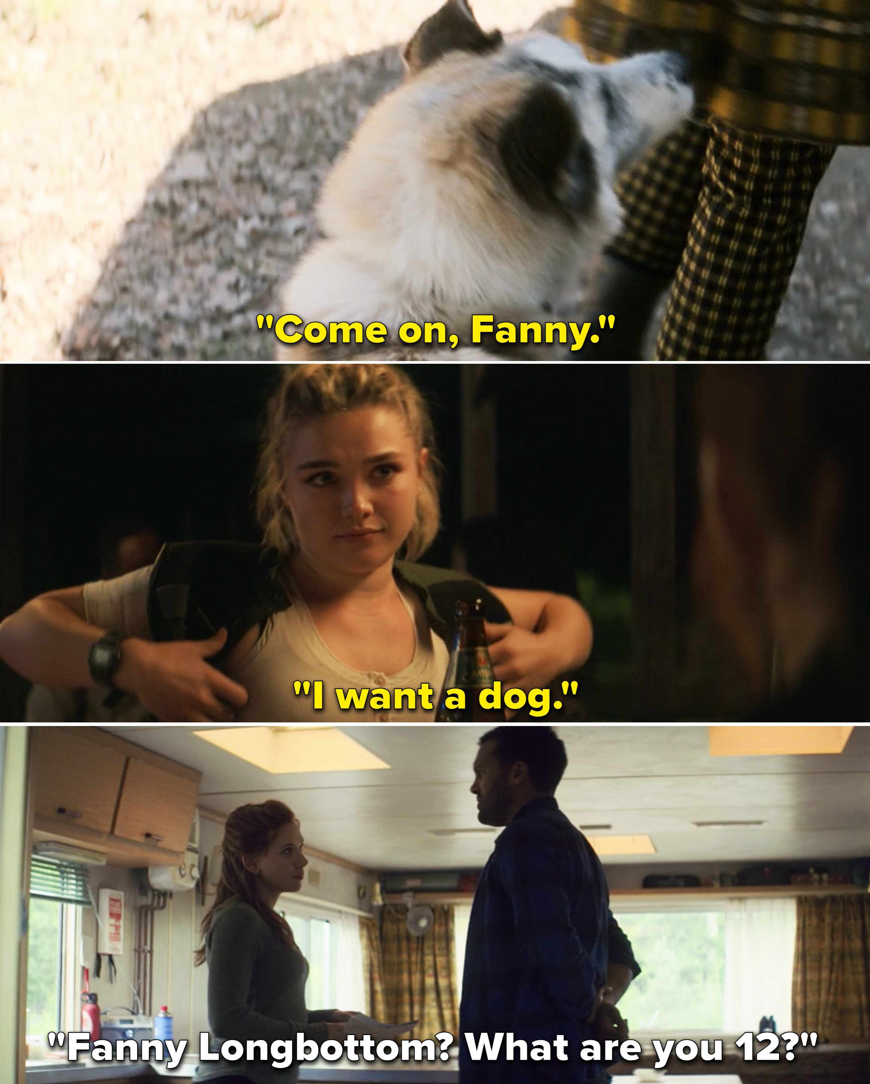 "Yelena saying, ""Come on, Fanny"" vs. Natasha telling Rick, ""Fanny Longbottom? What are you 12?"""