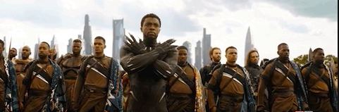 Black Panther standing with all of his team