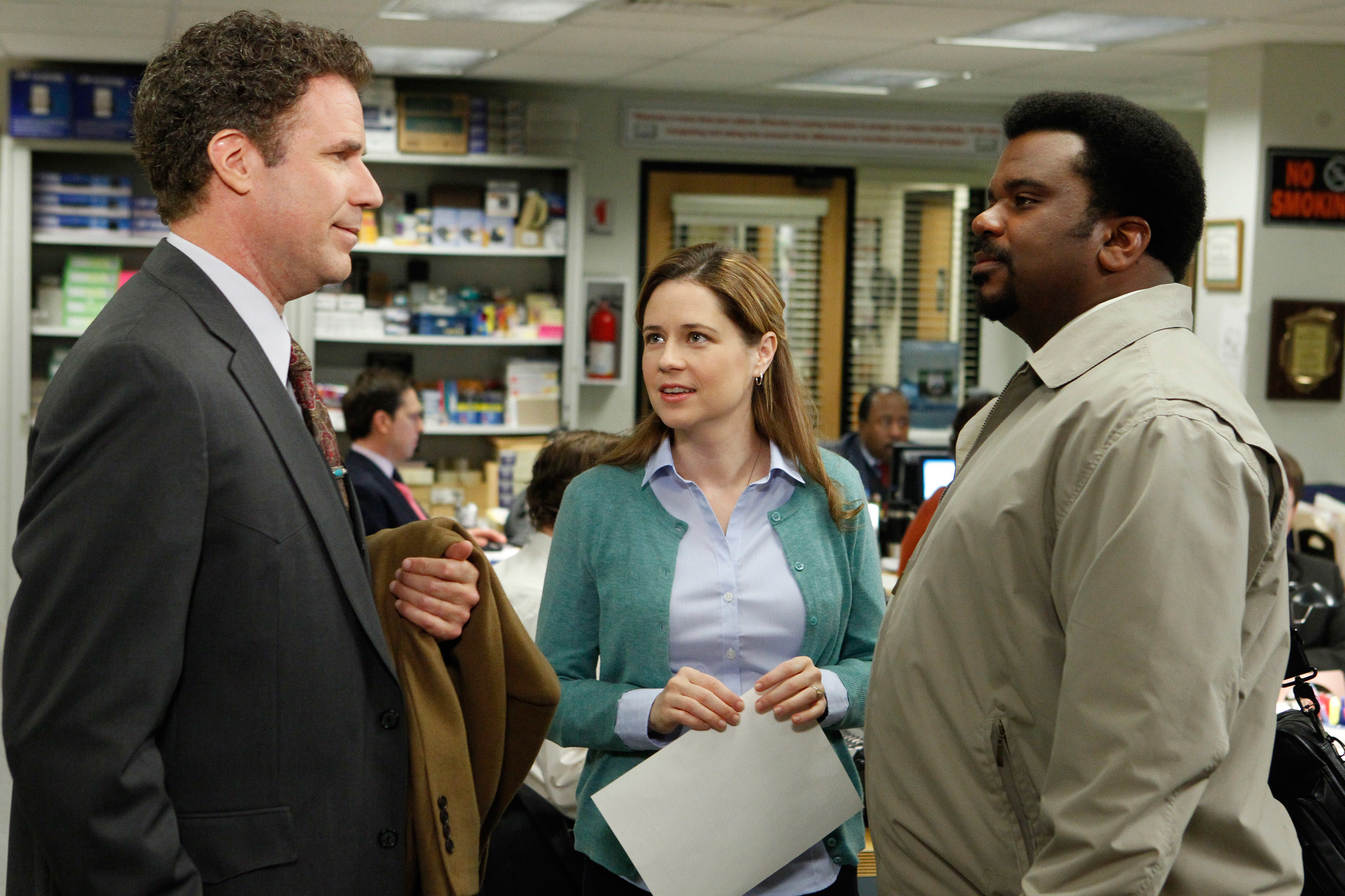 Will Ferrell, Jenna Fischer, and Craig Robinson in The Office