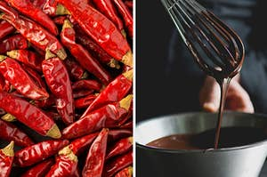 A pile of peppers are on the left with a man mixing chocolate on the right