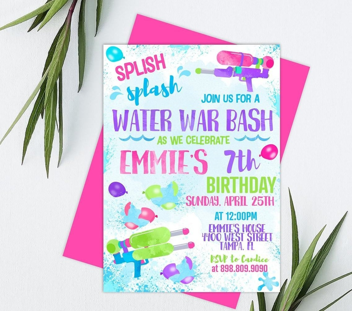 """an invitation with pink, purple, and turquoise letters. It says """"Water War Bash as we celebrate Emmie's seventh birthday"""" with cute graphics of water guns"""
