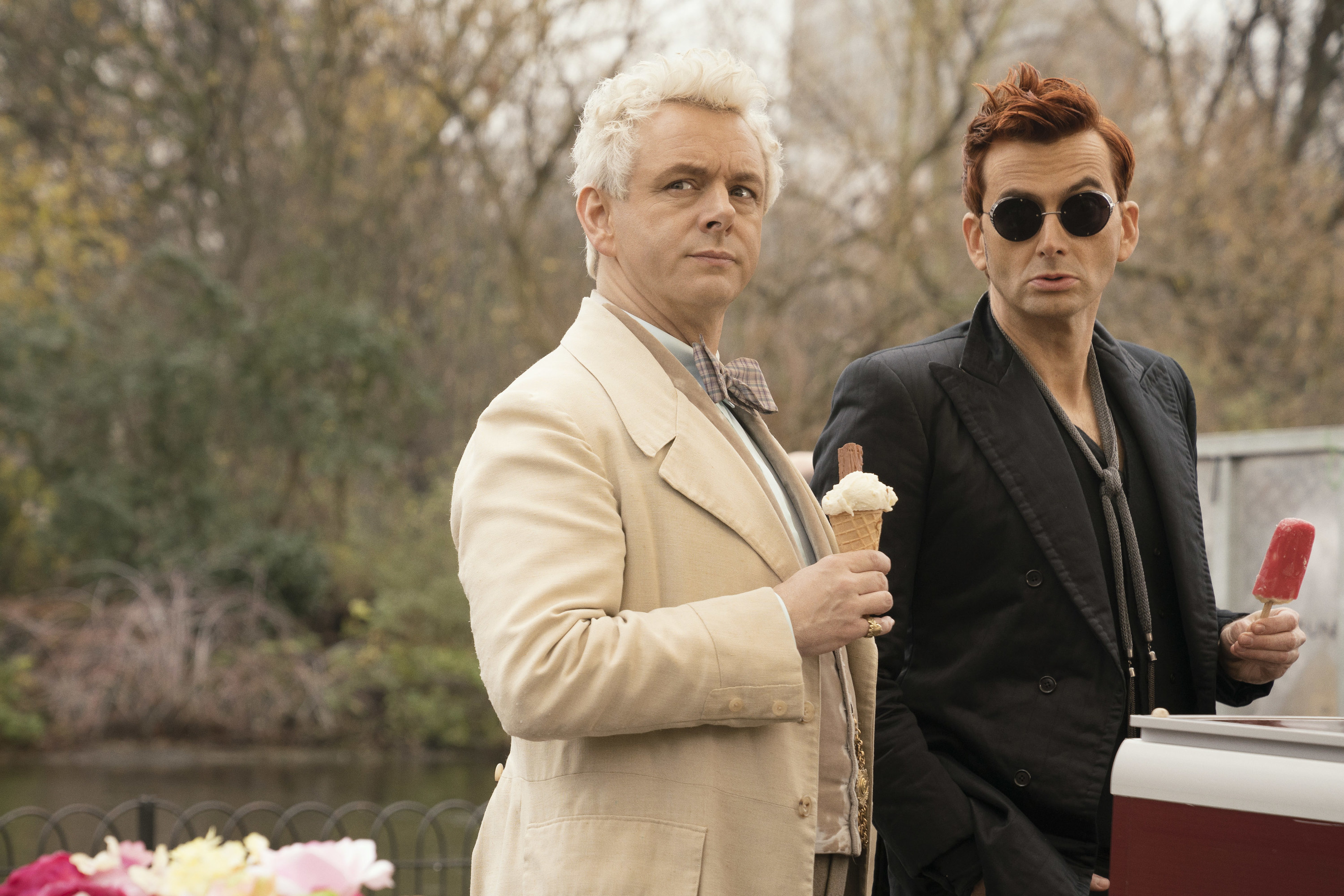 David Tennant and Michael Sheen as Crowly and Aziraphale in Good Omens