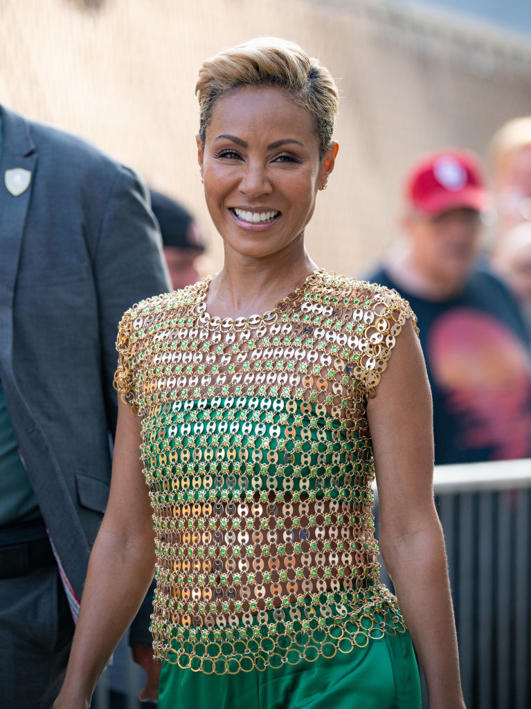 Jada Pinkett Smith is seen at 'Jimmy Kimmel Live' with a short dyed cut